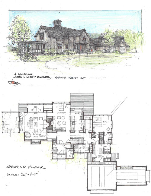 Rathedon sketch by architect John Milnes Baker, AIA